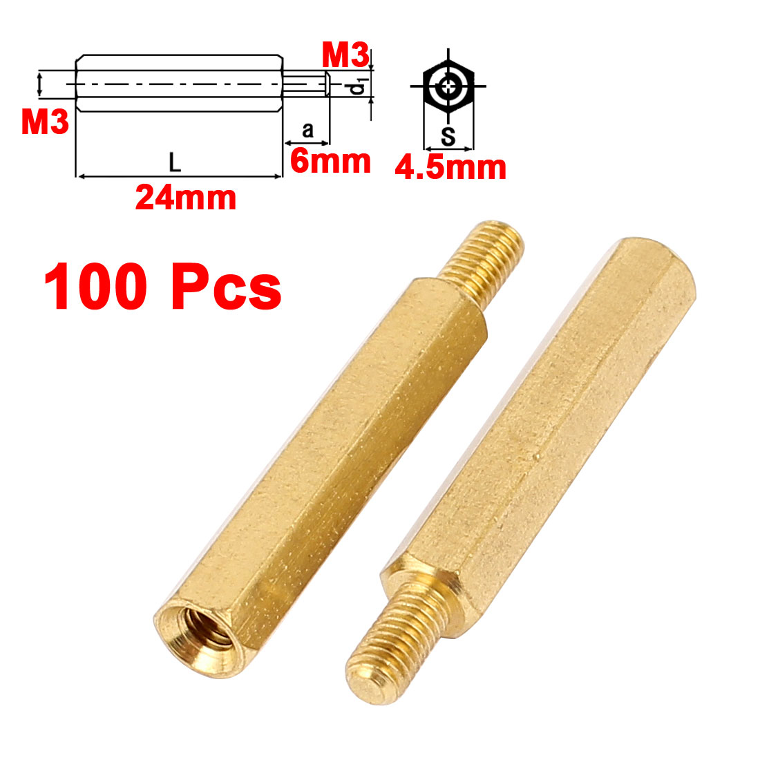 100pcs M3 24mm+6mm Male to Female Brass Fixed PCB Hexagon Standoff Spacer Pillar