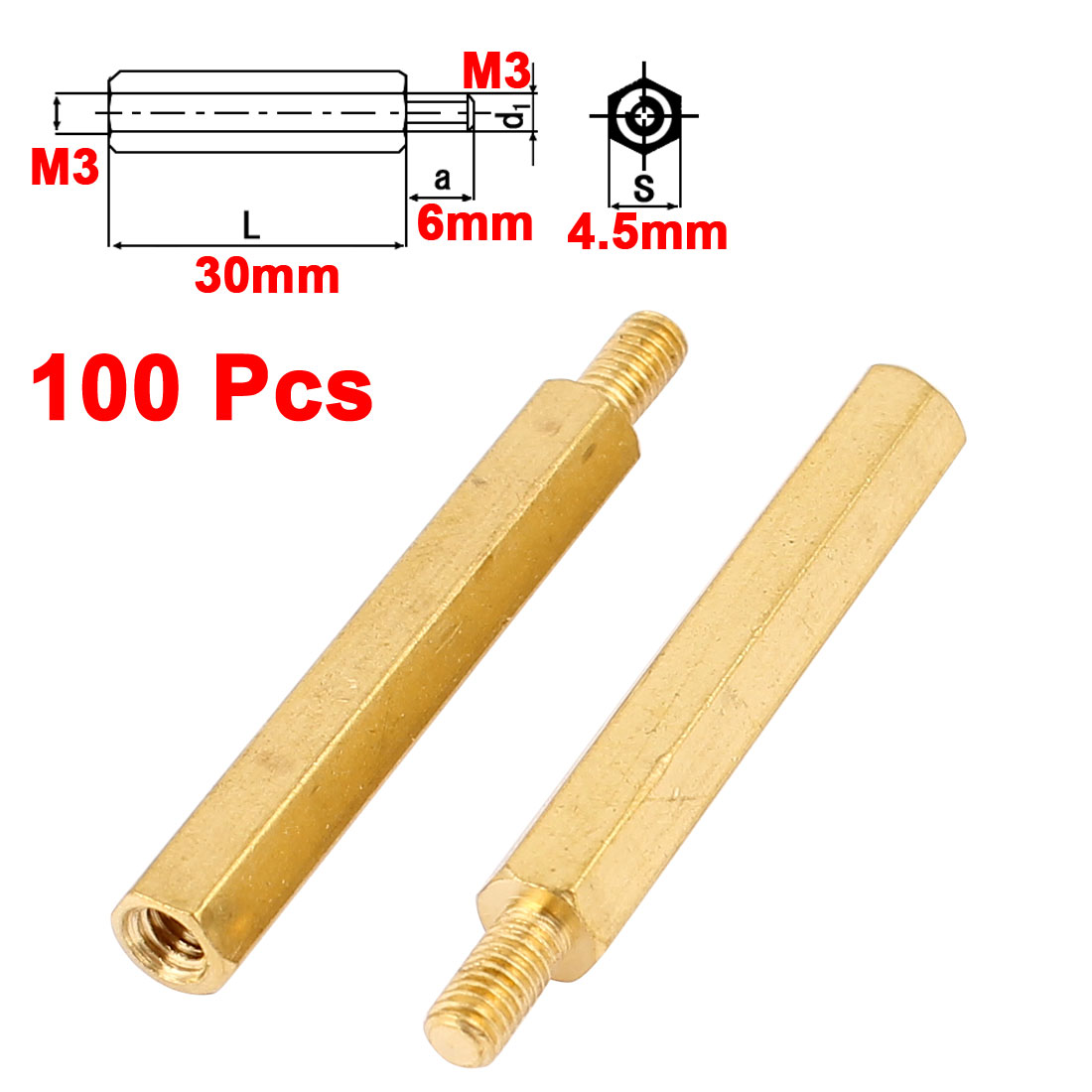100pcs M3 Male to Female 30mm+6mm Hex Brass Screw Standoff Spacer Pillar for PCB Motherboard