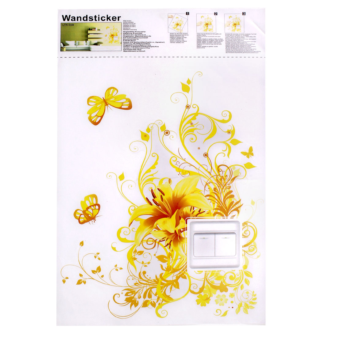 DIY Decoration Flower Pattern Wall Light Switch Sticker Decal Yellow