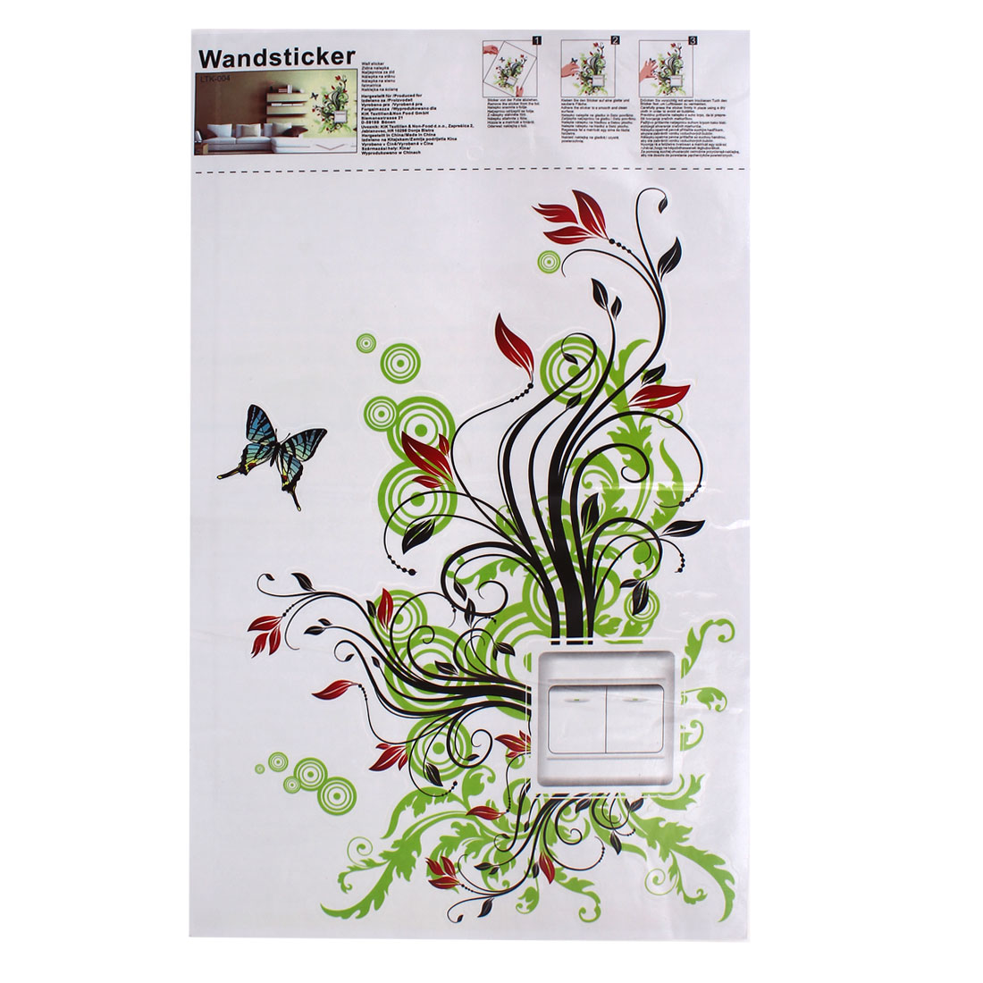 DIY Decoration Flower Pattern Wall Light Switch Sticker Decal Green