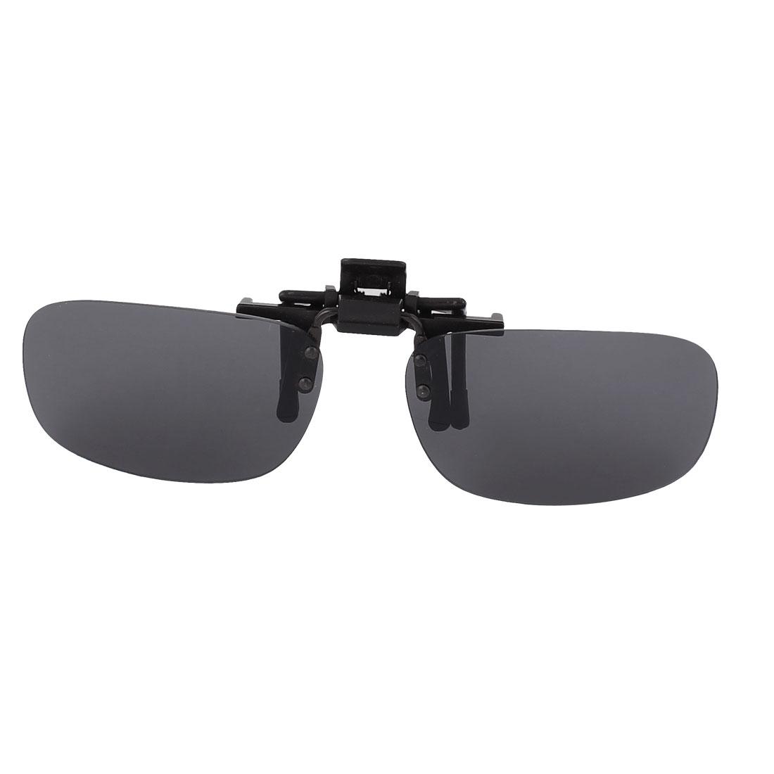 Black Lens Glare Block Lend Clip On Flip Up Sunglasses For Glasses Driving