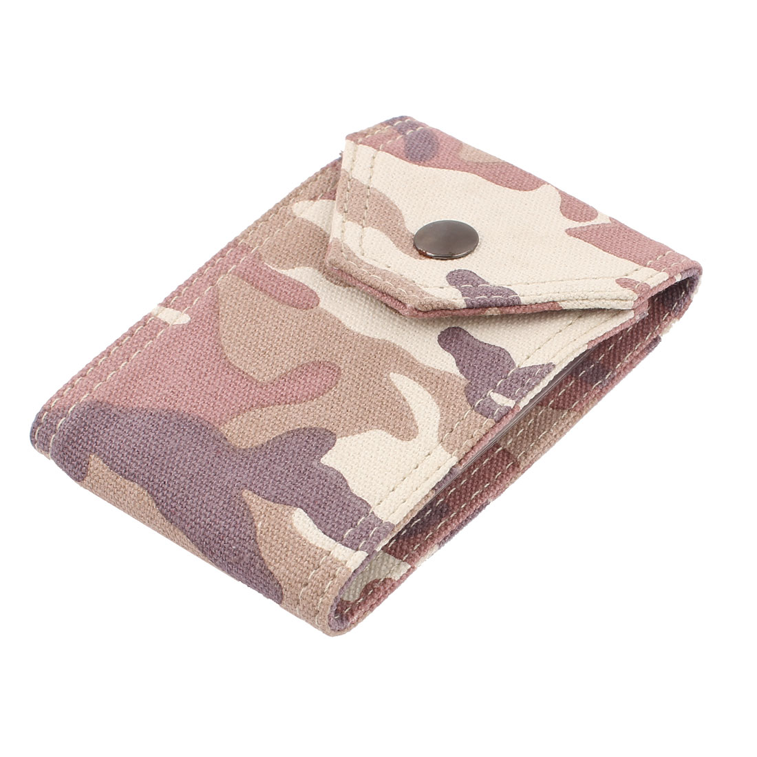 Camouflage Pattern Canvas 10 Capacity Business Name Credit Card Holder