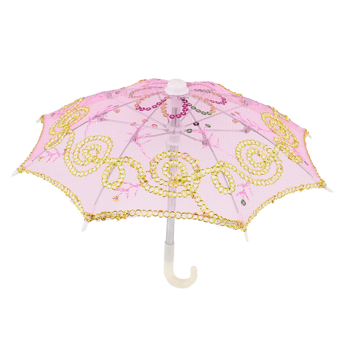 Handmade Wedding Party Sequin Ornament Lace Mini Parasol Umbrella Pink