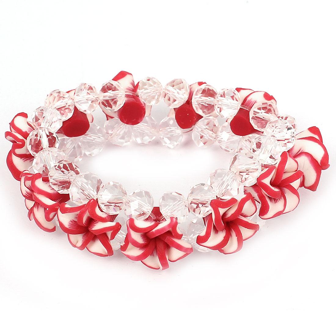 Lady Peony Flower Faux Crystal Inlaid Wrist Chain Bangle Bracelet Decor Red