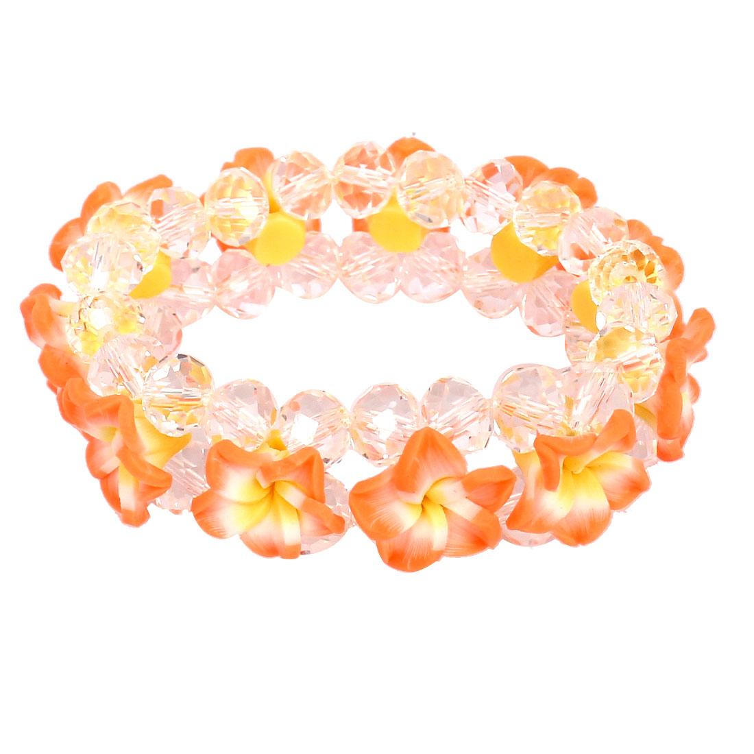 Lady Peony Flower Faux Crystal Inlaid Wrist Chain Bracelet Ornament Orange