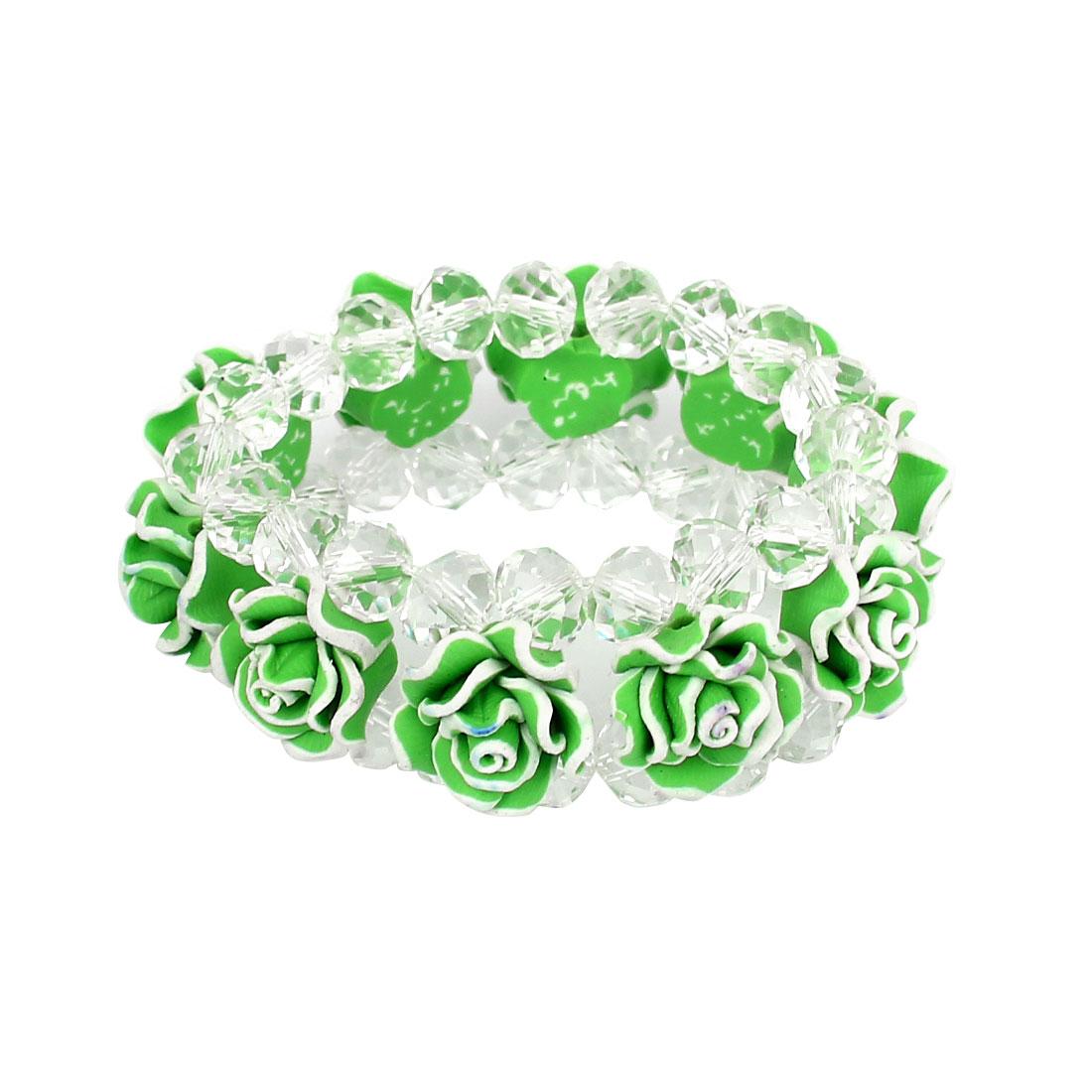 Women Flower Faux Crystal Detail Charm Wrist Chain Bangle Bracelet Decor Green