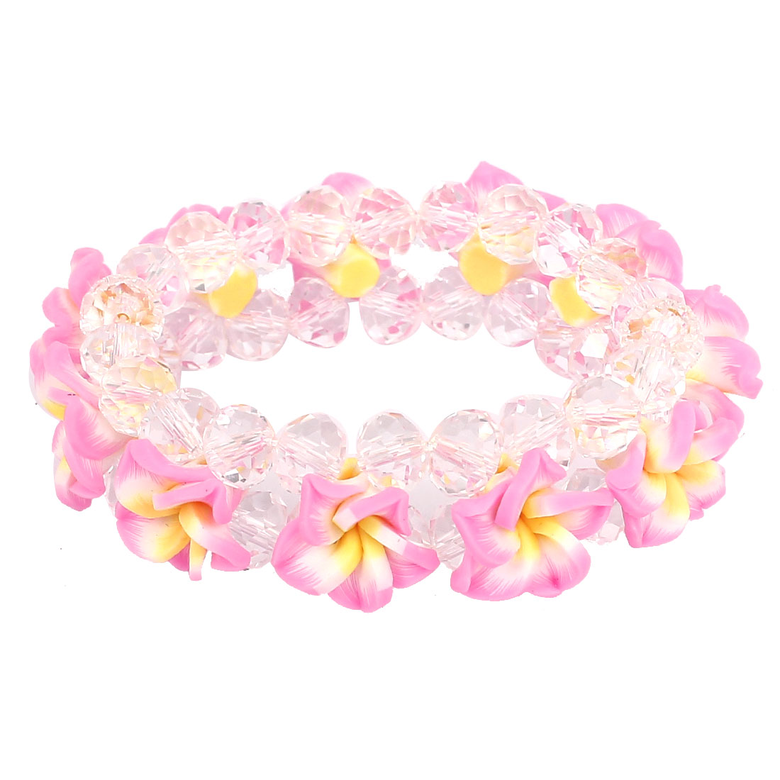 Lady Peony Flower Faux Crystal Inlaid Wrist Chain Bracelet Ornament Pink