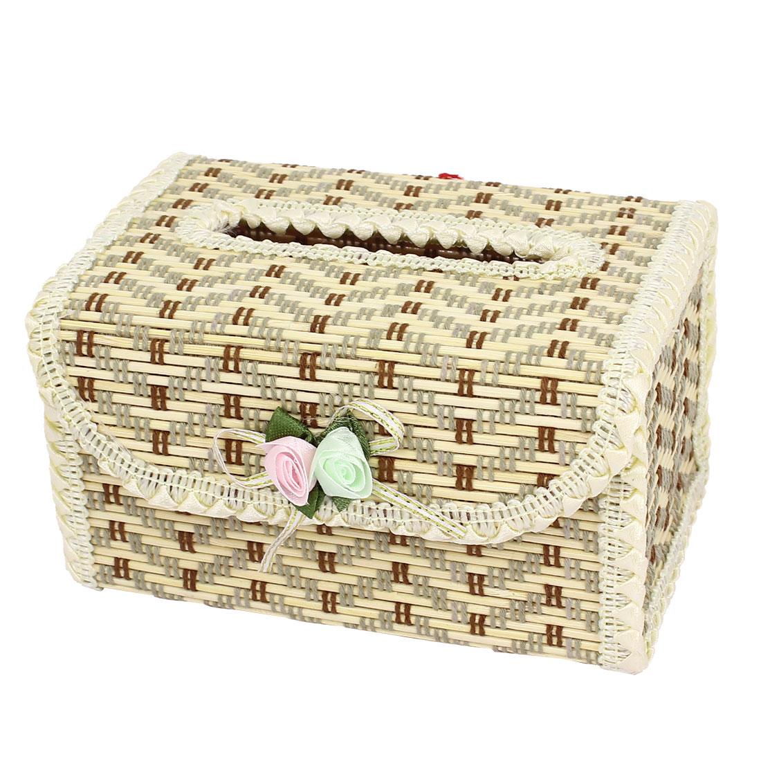 Home Bathroom Handmade Bamboo Tissue Cover Napkin Holder Paper Box Beige