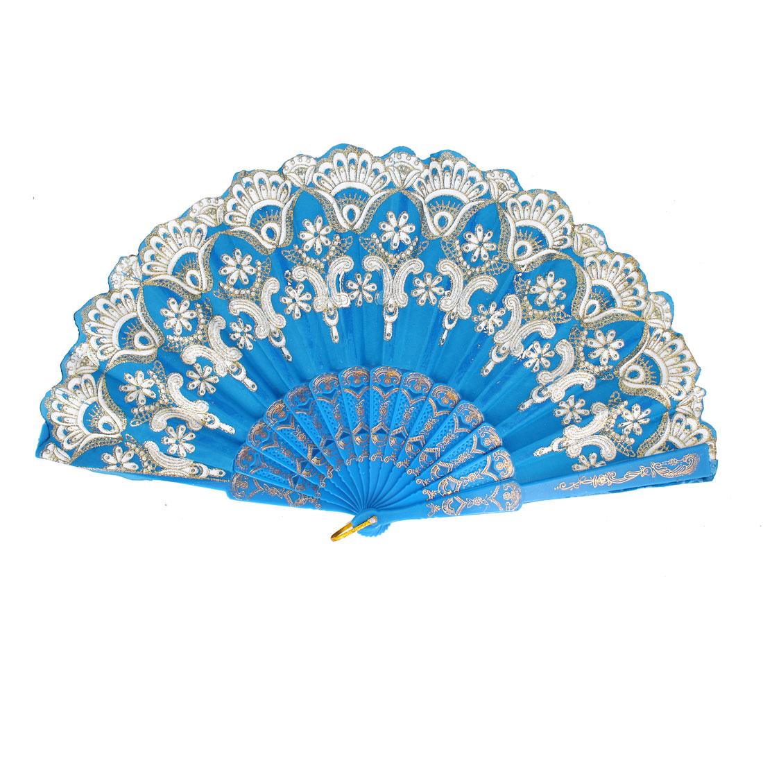 Chinese Style Bling Flower Pattern Party Dance Wedding Folding Hand Fan Blue