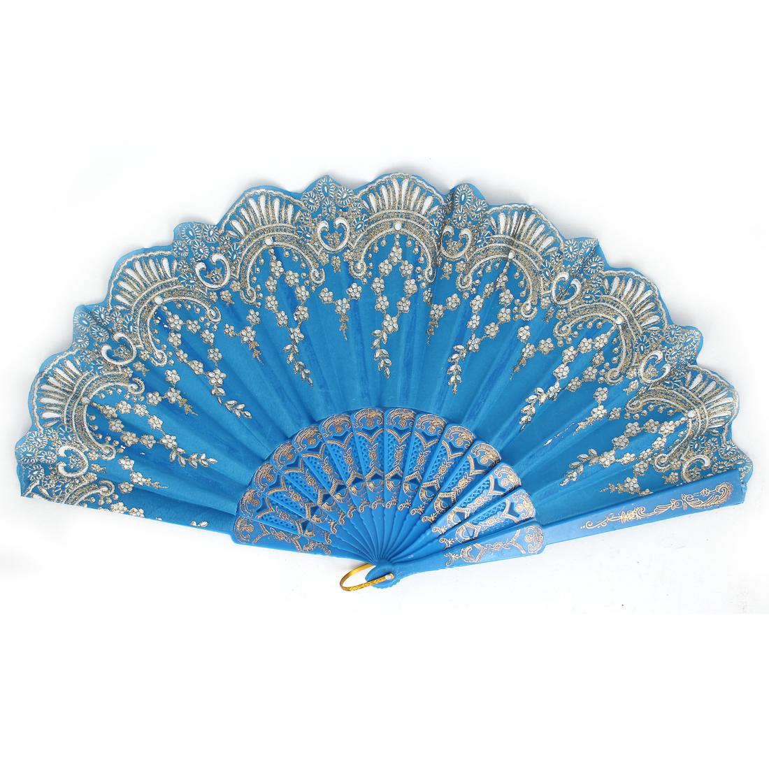 Chinese Style Glitter Flower Pattern Party Dance Wedding Folding Hand Fan Blue