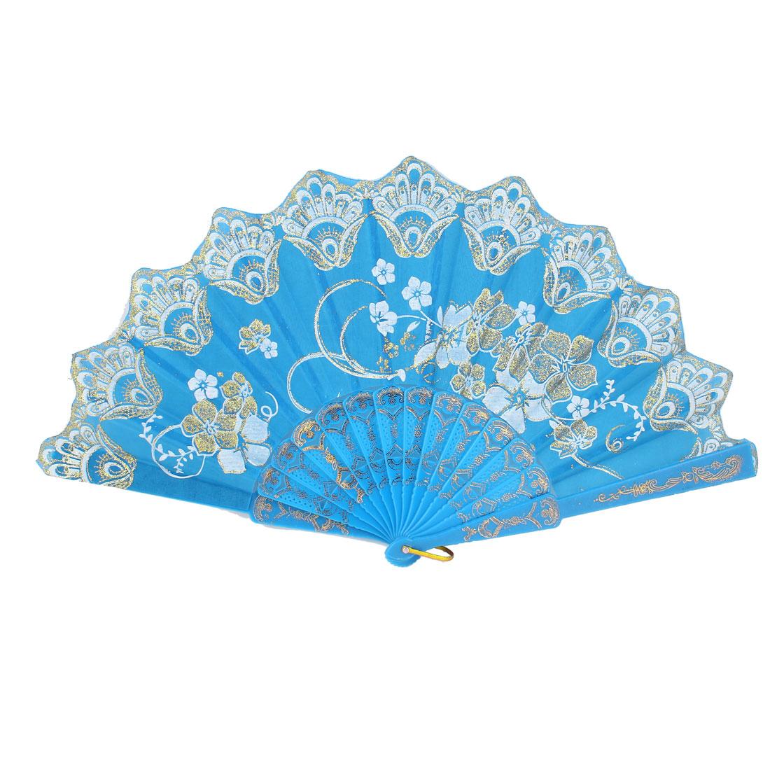 Plastic Rib Glittery Powder Decor Flower Printed Folding Hand Fan Sky Blue