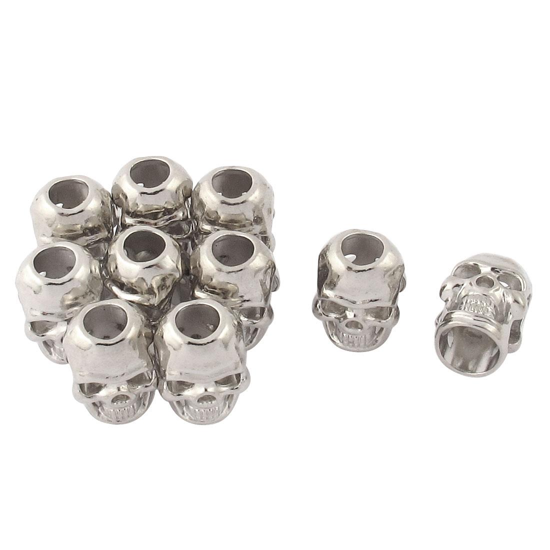 10 Pcs Silver Tone Skull Head Shape Mini Pendant Charm Bead DIY Jewelry