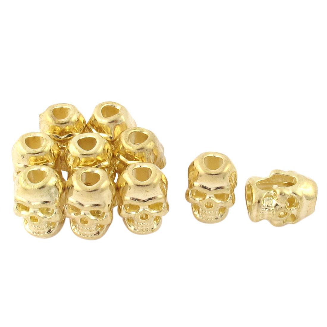 10 Pcs Gold Tone Skull Head Style Necklace Pendant Charm Bead DIY Bracelet