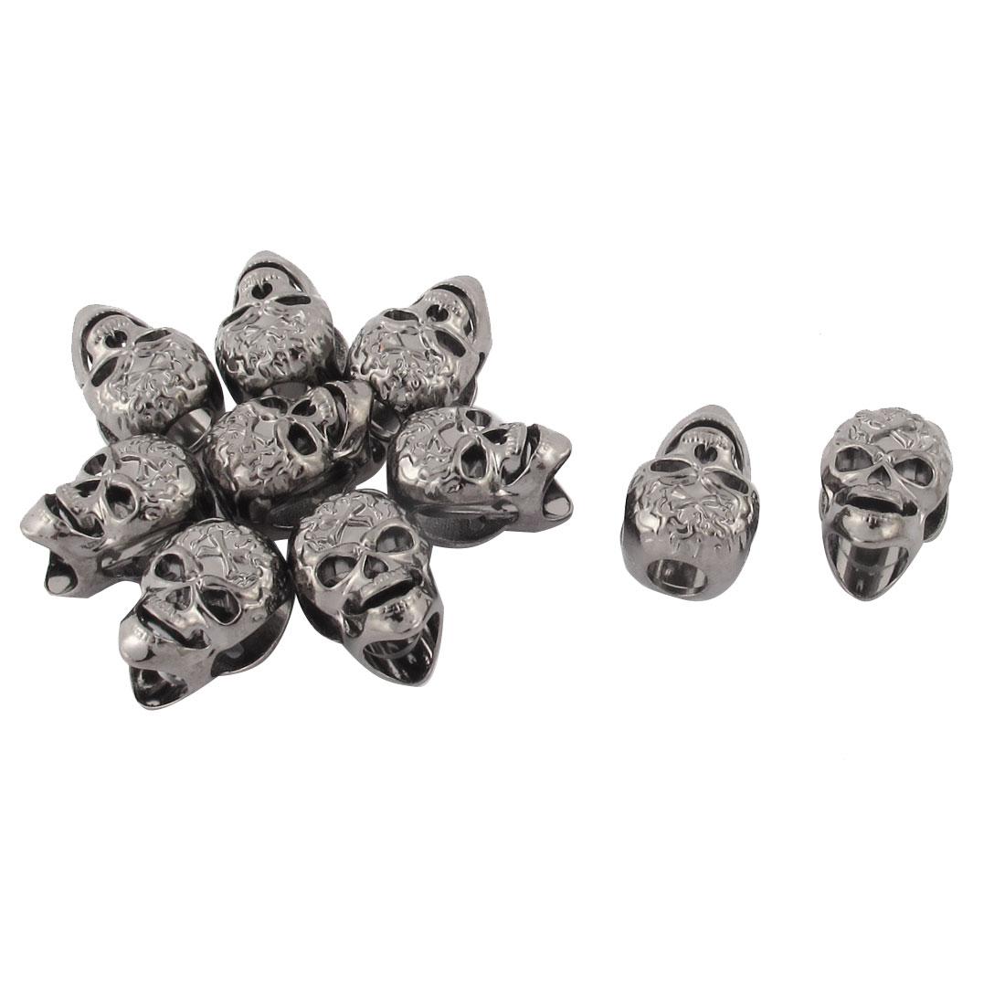 10 Pcs Silver Tone Skull Head Design Pendant Charm Bead Bracelet Connector