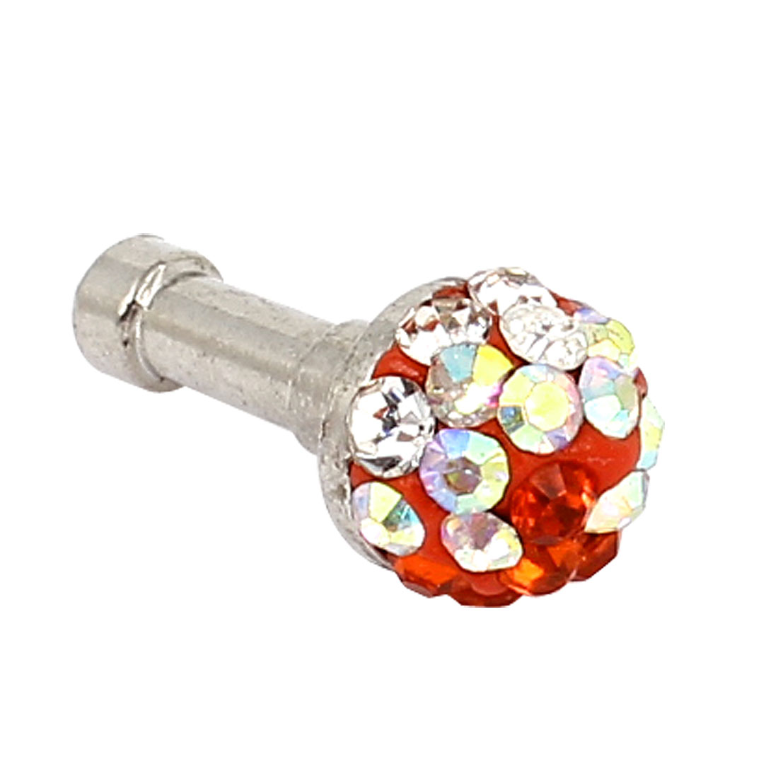 Red Clear Rhinestone 3.5mm Earphone Ear Cap Dust Stopper for Cell Phone