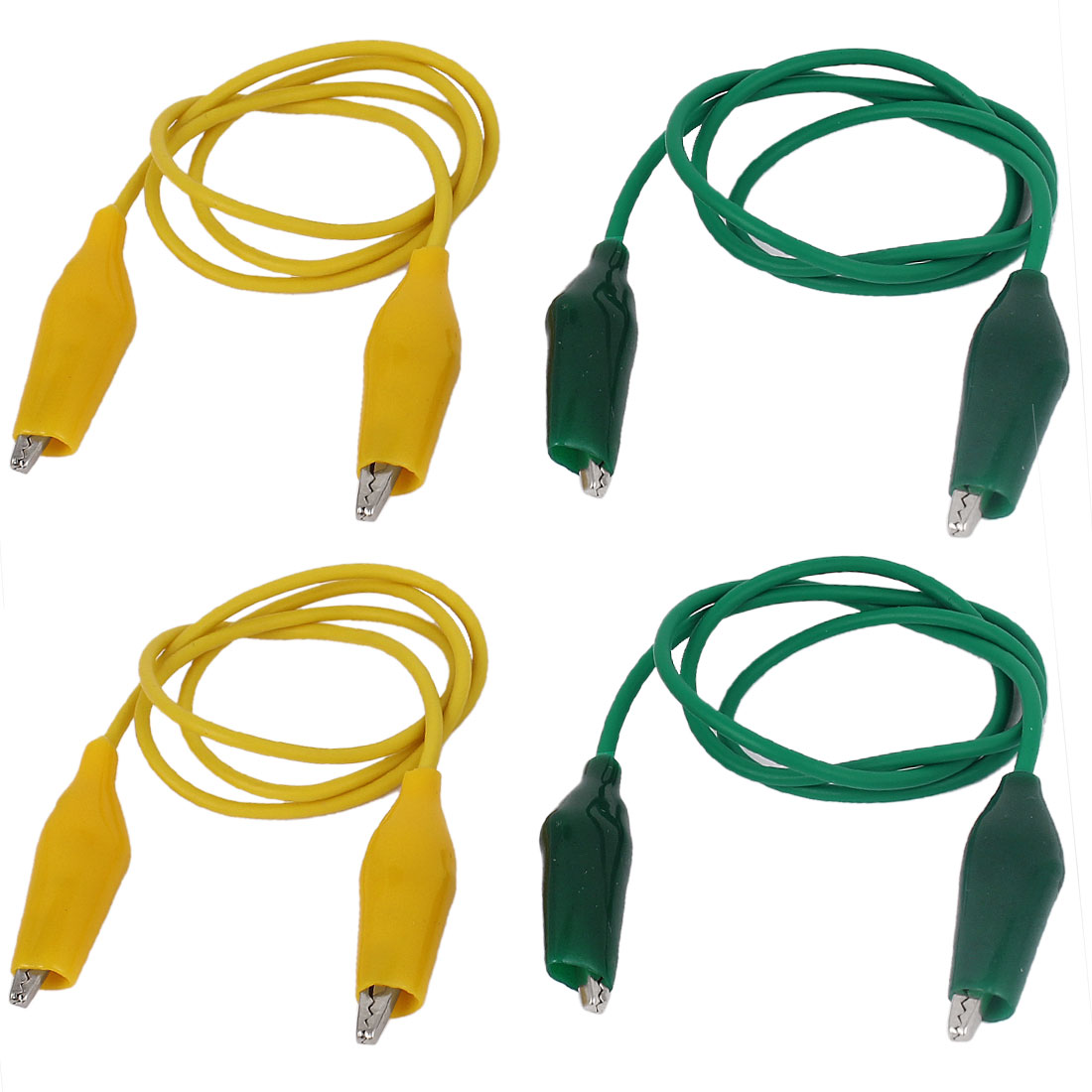 "4PCS 19"" Insulated Alligator Clip Jumper Probe Testing Work Wire Yellow Green"