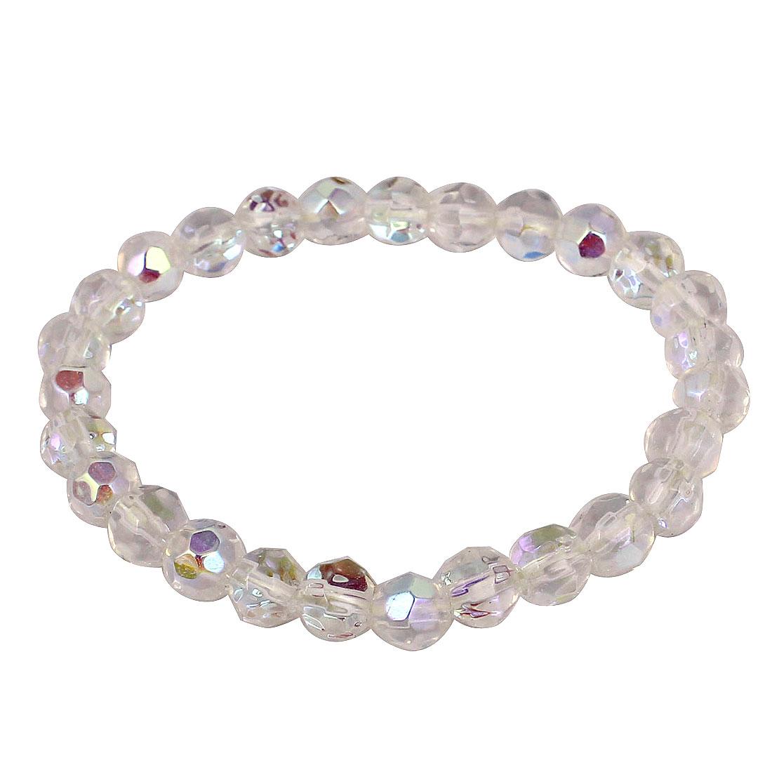 Woman Colorful Faux Crystal Ornament Elastic Wrist Chain Bracelet Bangle