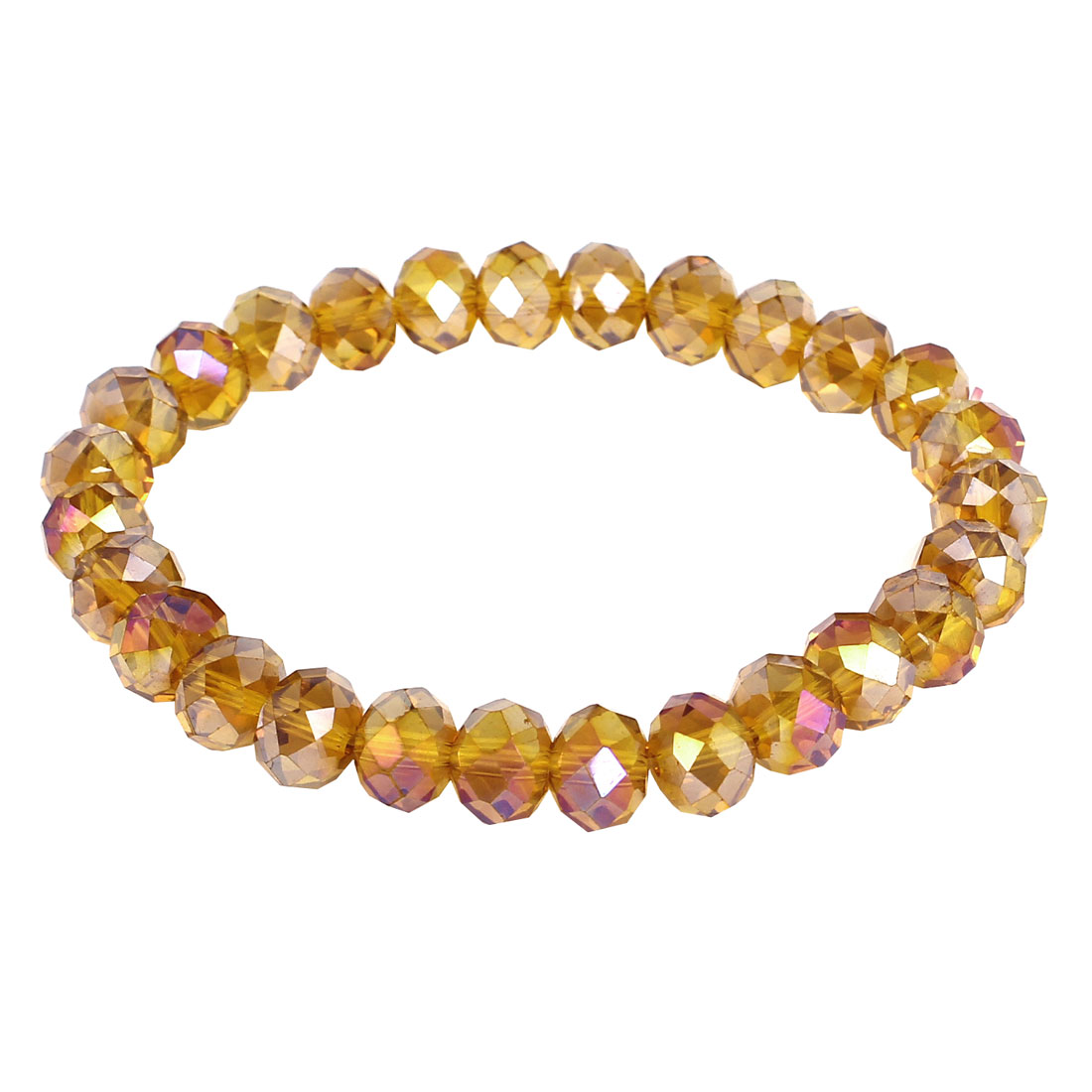 Women Faux Crystal Decoration Stretchy Wrist Chain Bangle Bracelet Orange