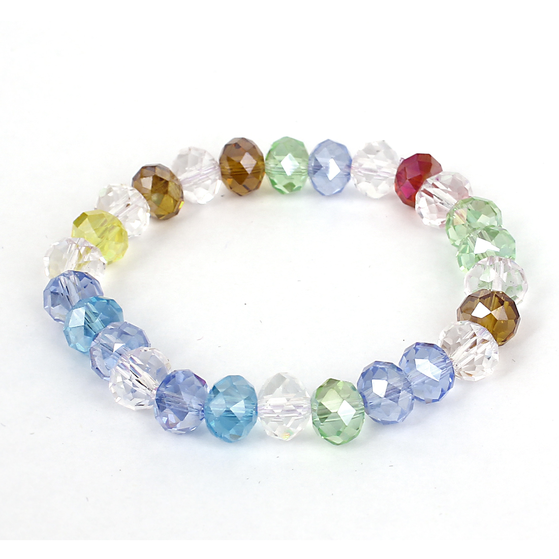 Lady Faux Crystal Decor Elastic Wrist Chain Bangle Bracelet Assorted Color