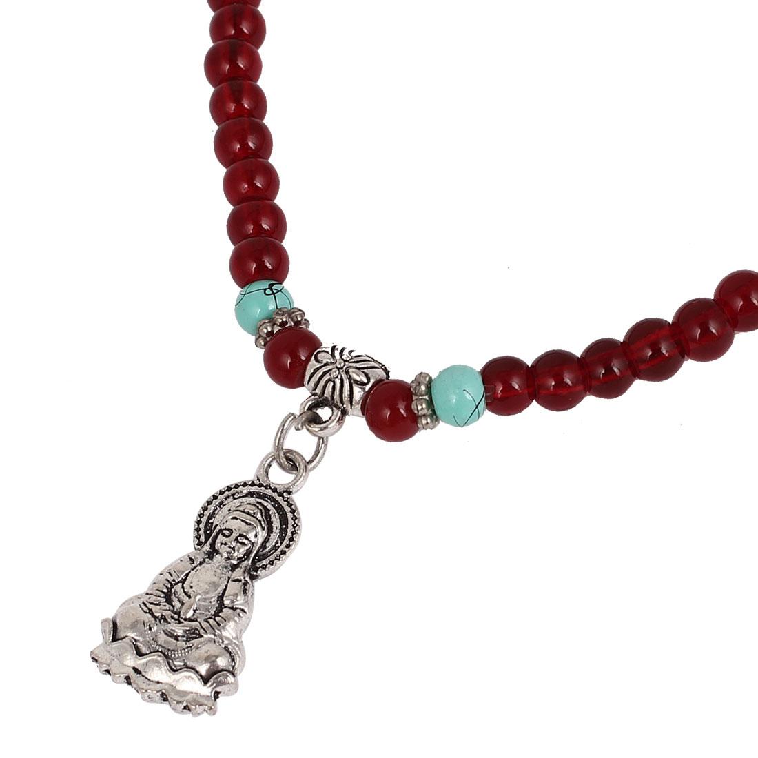 Chinese Guan Yin Buddha Pendant Faux Beaded Elastic Chain Necklace Burgundy