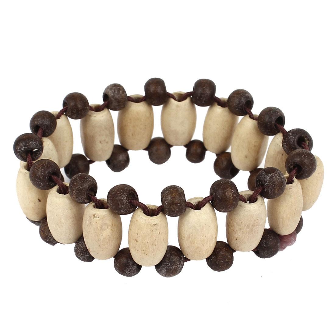 Woman Wooden Beads Ornament Elastic Wrist Chain Bracelet Bangle Beige Gray