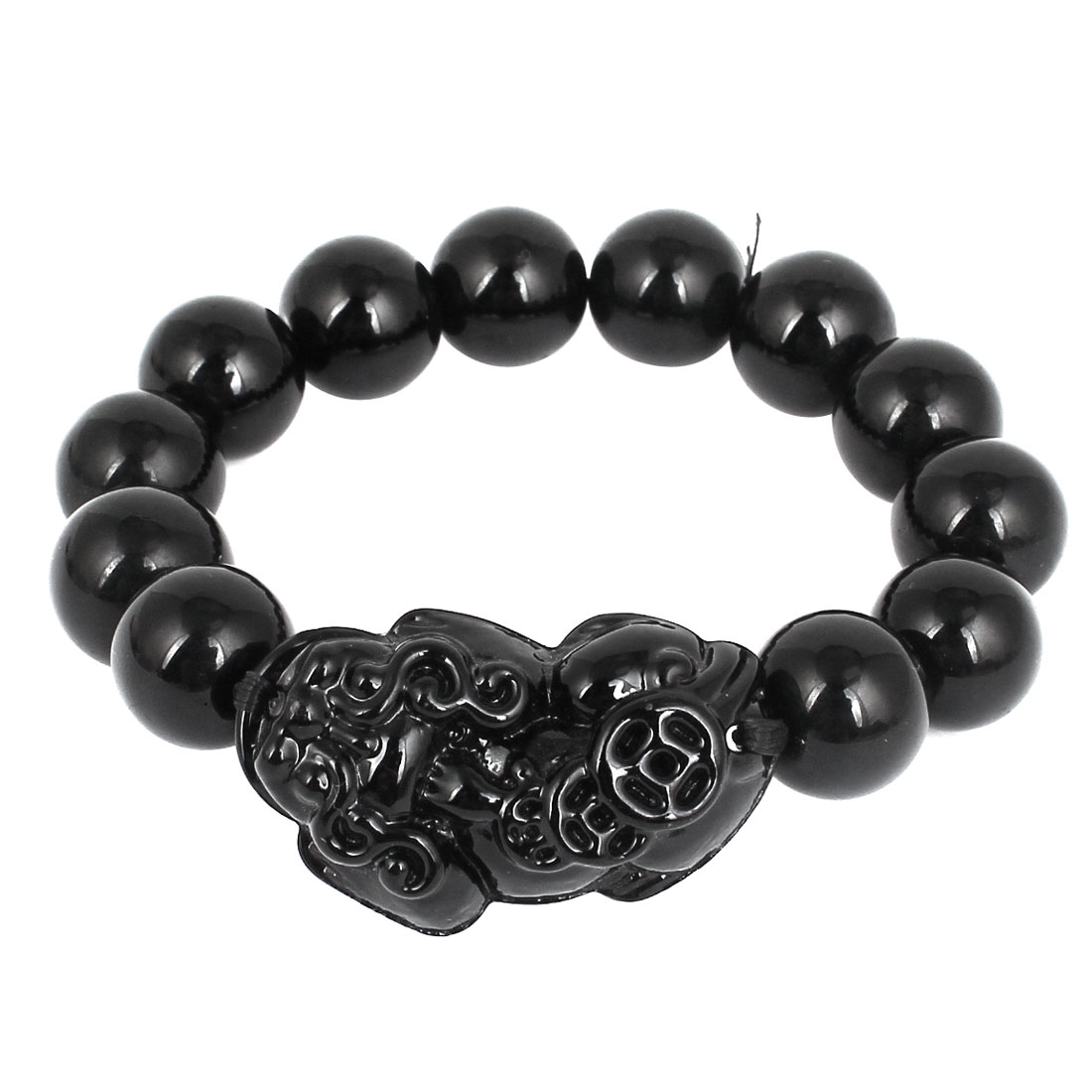 Carved Brave Troops Decor Buddha Buddhist Beads Elastic Bracelet Black
