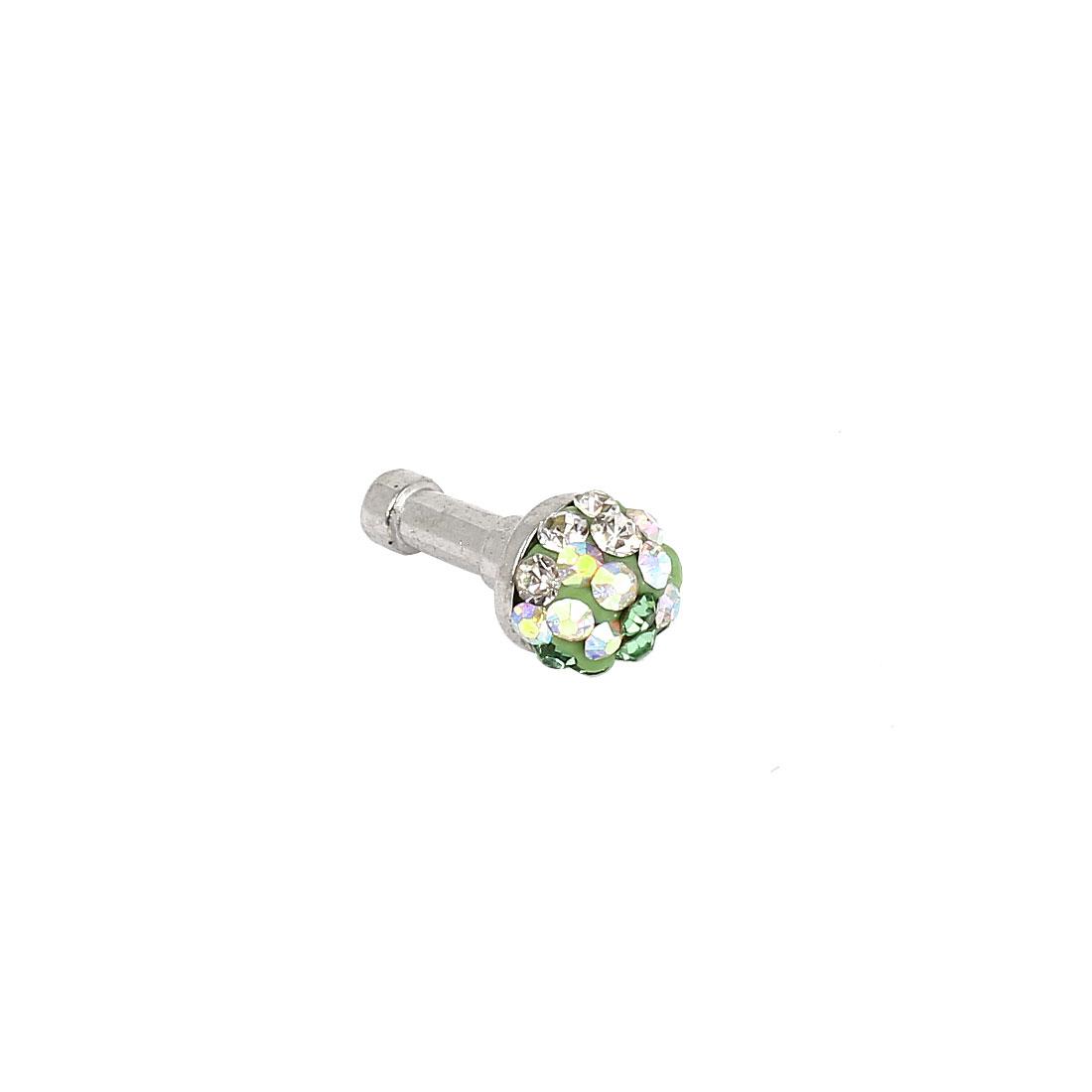 Green Clear Rhinestone 3.5mm Earphone Ear Cap Dust Stopper for Cell Phone