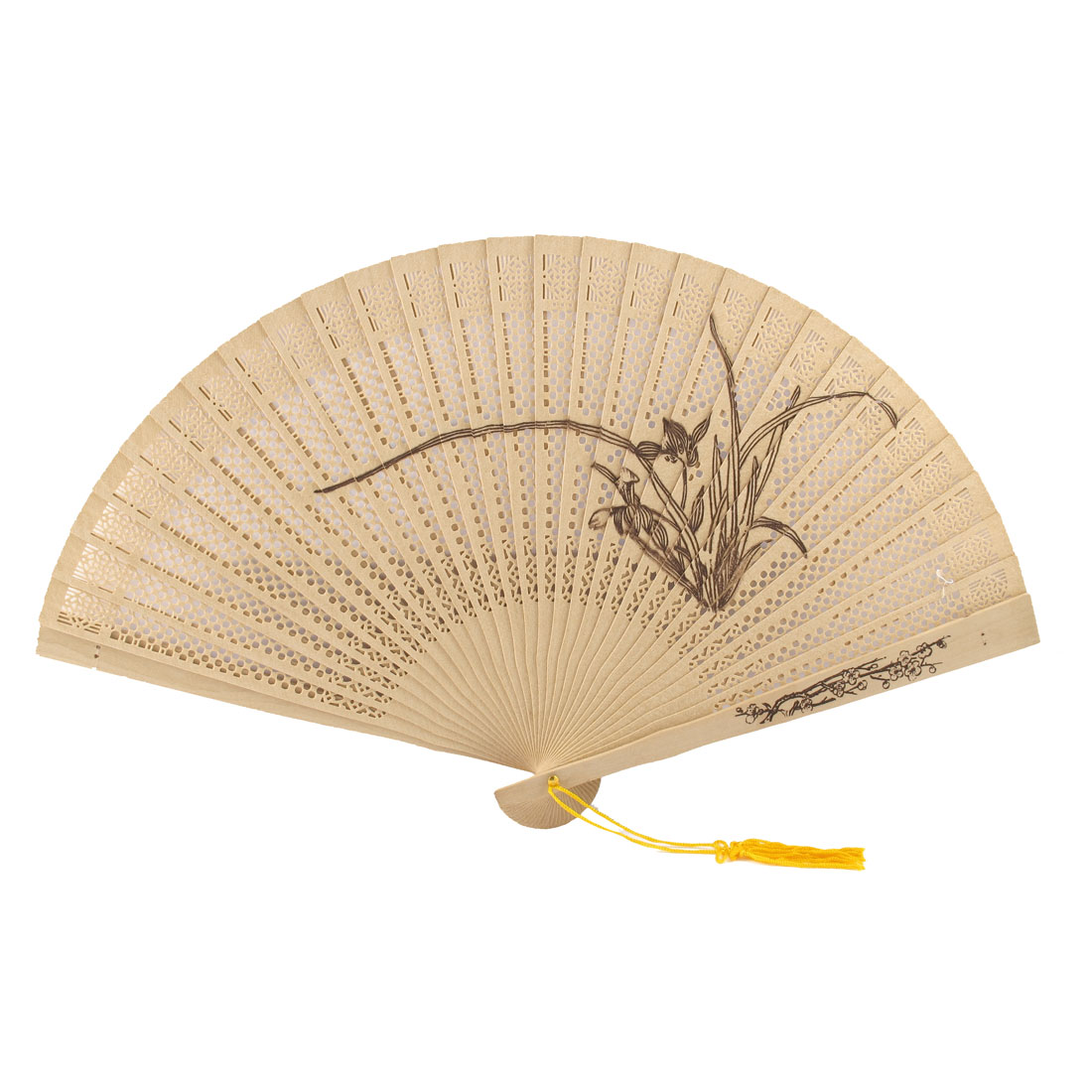 Woman Wedding Gift Narcissus Print Fragrant Wooden Folding Hand Fan Beige