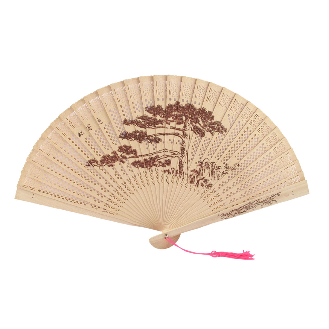 Greeting Pine Pattern Hollow Out Design Scented Wooden Folding Hand Fan Beige