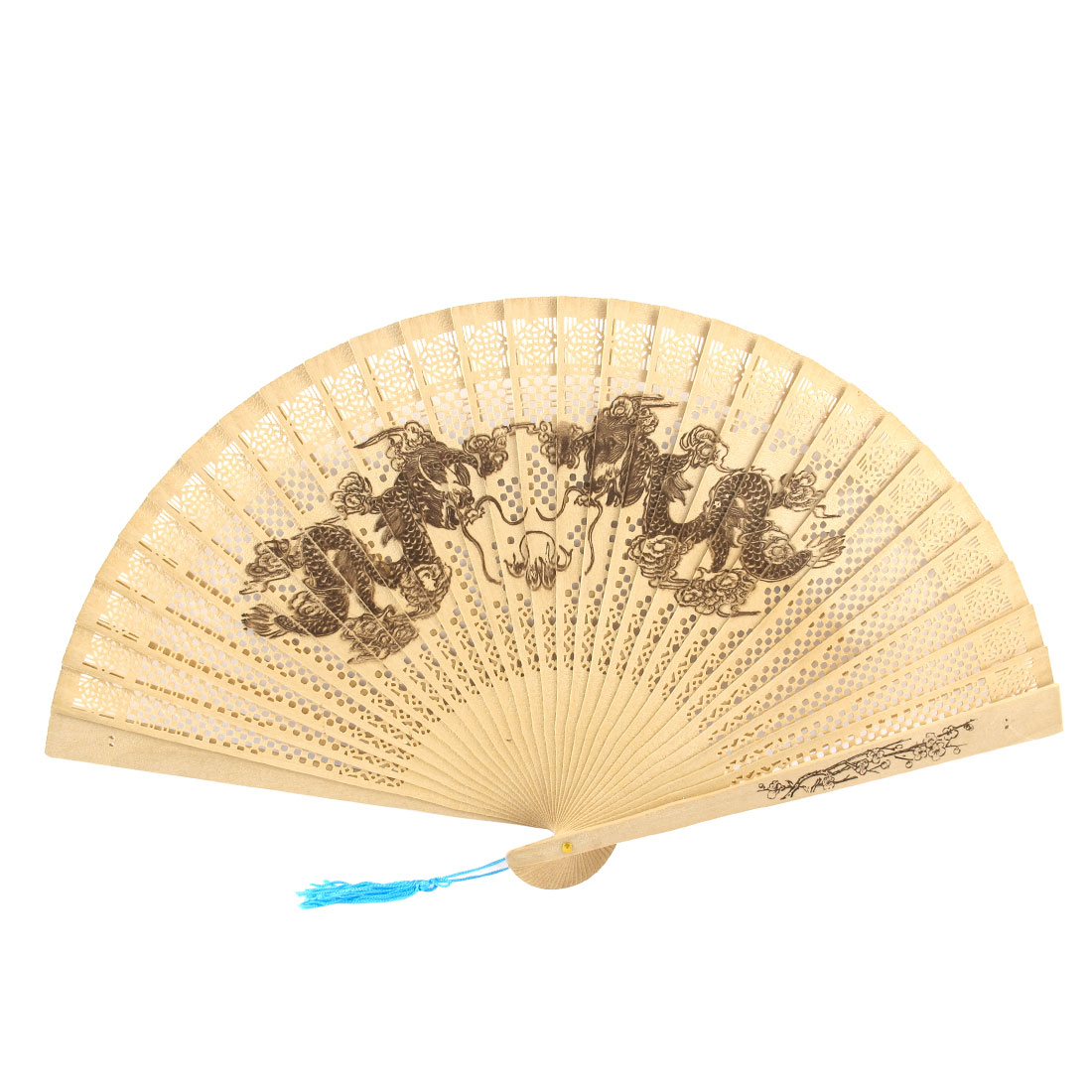 Hollow Out Style Dragon Printed Fragrant Wooden Folding Hand Fan Beige