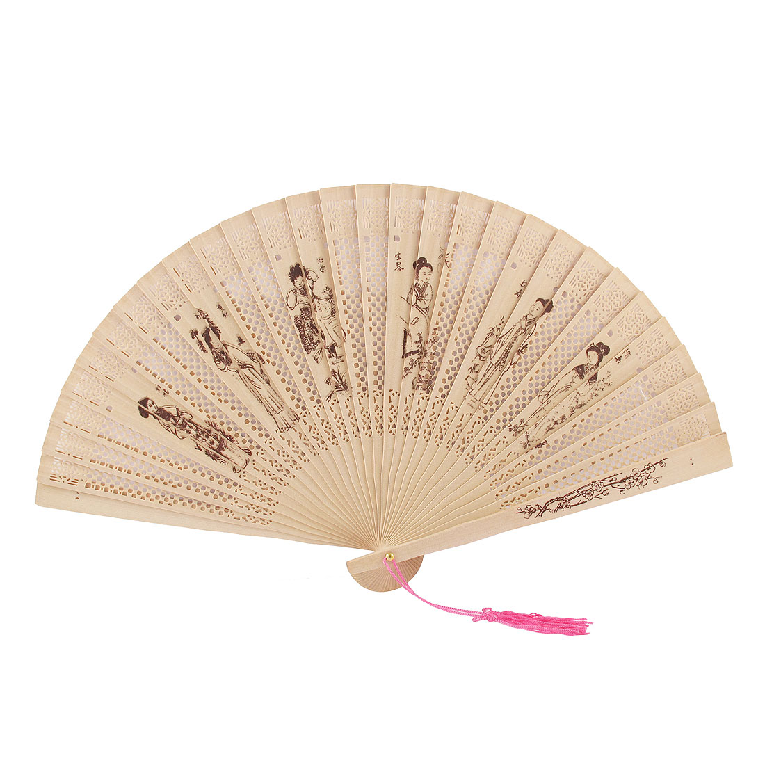 Woman Tassels Accent Beauty Printed Fragrant Wooden Folding Hand Fan Beige