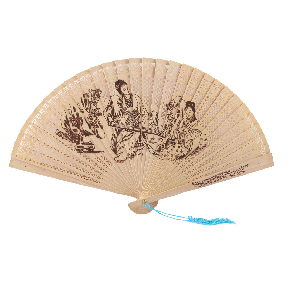 Blue Tassels Detail Beauty Pattern Scented Wooden Folding Hand Fan Beige