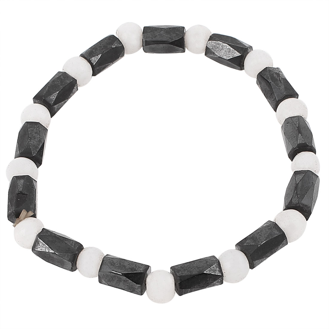 Lady Round Plastic Beads Elastic Wrist Magnetic Bracelet Bangle Black White