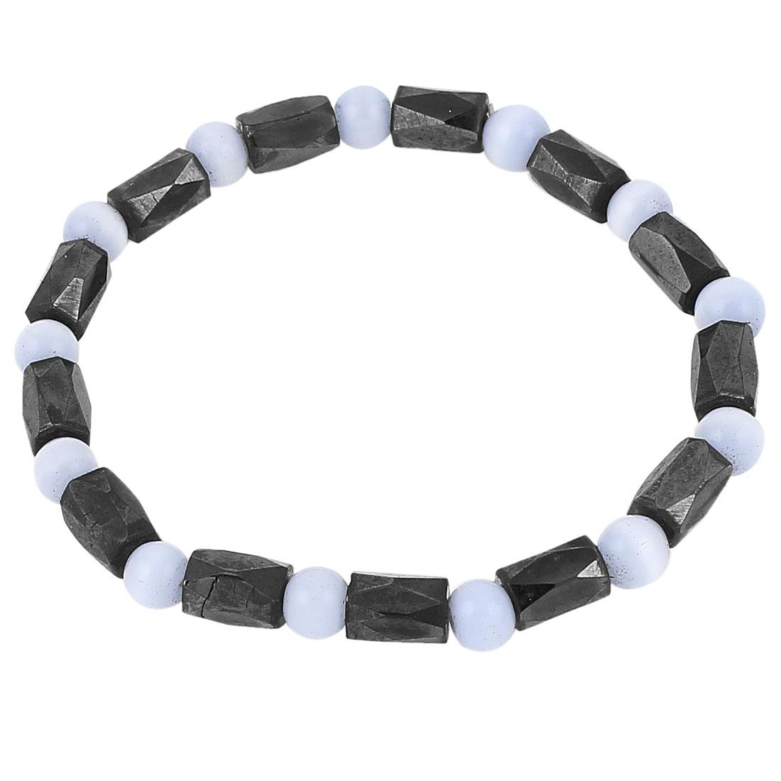 Lady Round Plastic Beads Elastic Wrist Magnetic Bracelet Bangle Black Blue