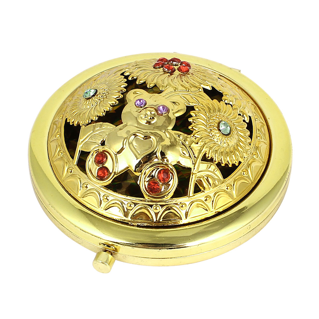 Flower Pattern Double Sided Cosmetic Makeup Folding Compact Mirror Gold Tone