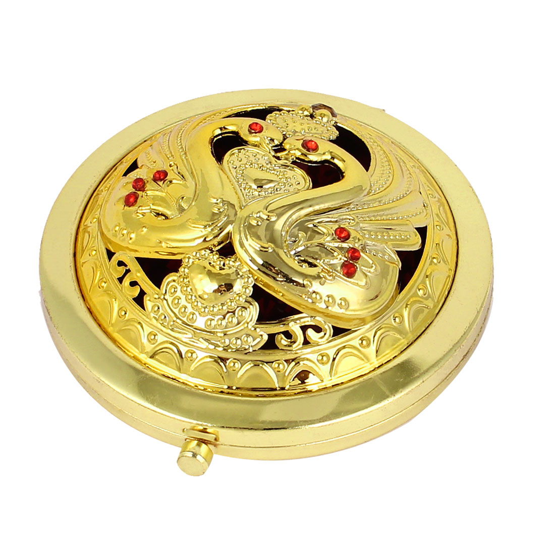 Swan Pattern Dual Sided Cosmetic Wedding Folding Compact Mirror Gold Tone
