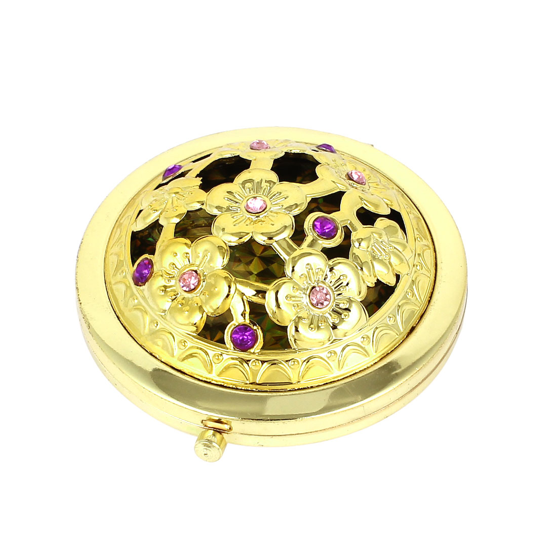 Flower Pattern Dual Sided Cosmetic Wedding Folding Compact Mirror Gold Tone