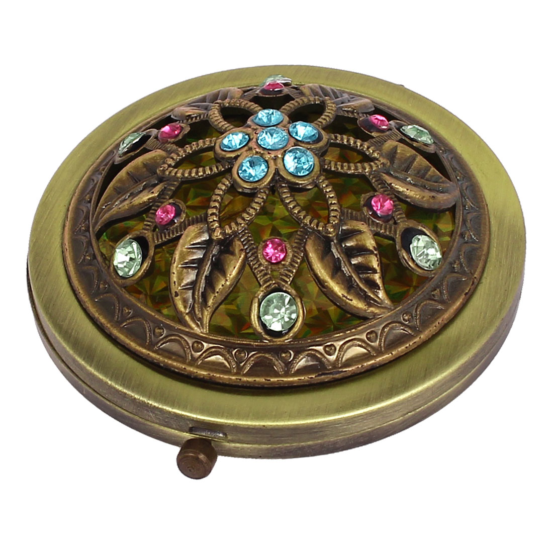 Retro Style Flower Pattern Dual Side Cosmetic Folding Compact Mirror Bronze Tone