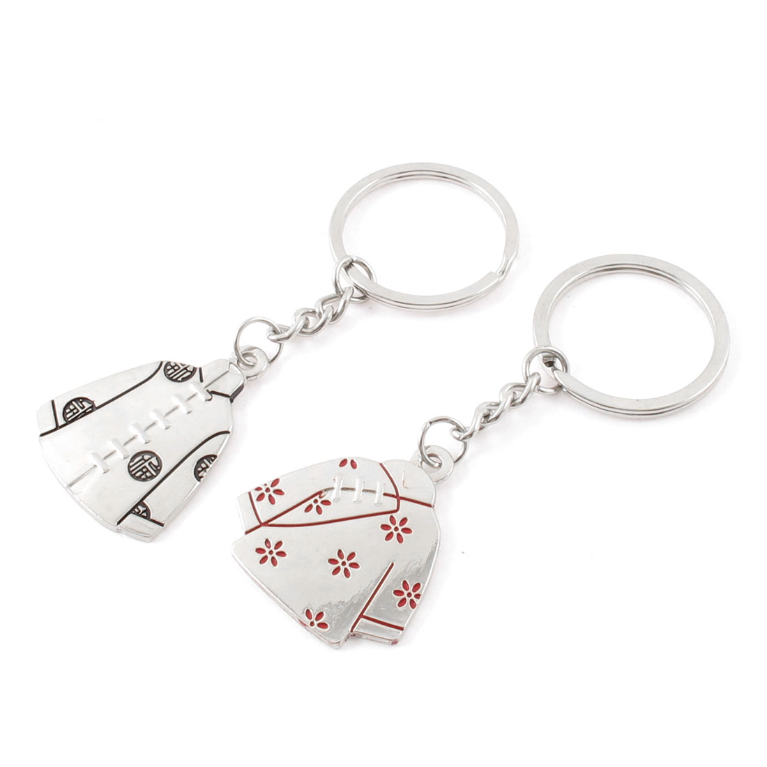 2 Pcs Tang Suit Design Pendant Couple Split Ring Keychain Keyring Silver Tone