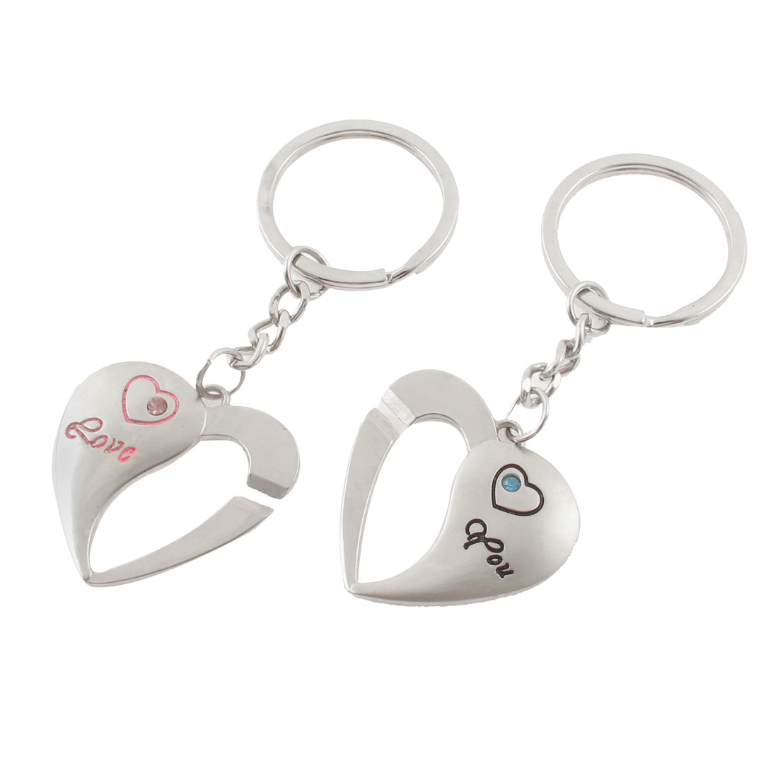 Heart Design Rhinestone Inlaid Dangling Pendant Couple Love Keychain Keyring 2 Pcs