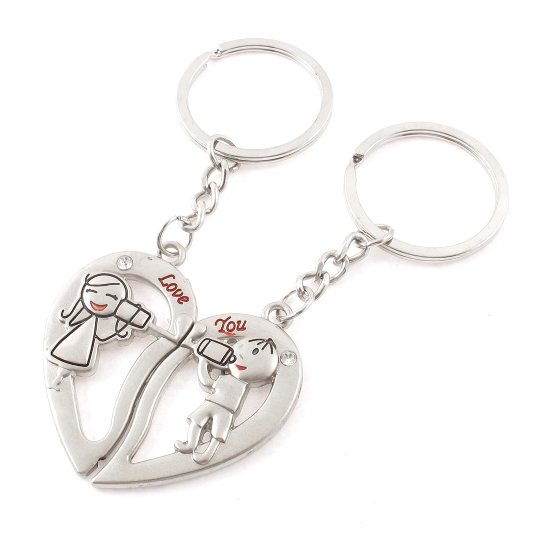 Cartoon Carved Rhinestone Inlaid Dangling Pendant Split Ring Keychain Keyring 2 Pcs