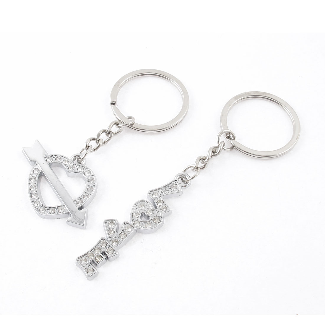 2 Pcs Rhinestones Detail Love Heart Design Couple Keychain Keyring