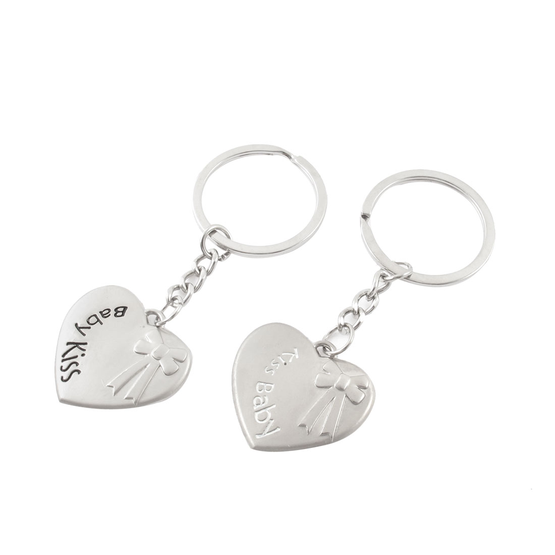 2 Pcs Heart Shape Bowknot Carved Dangling Pendant Split Ring Keychain Keyring