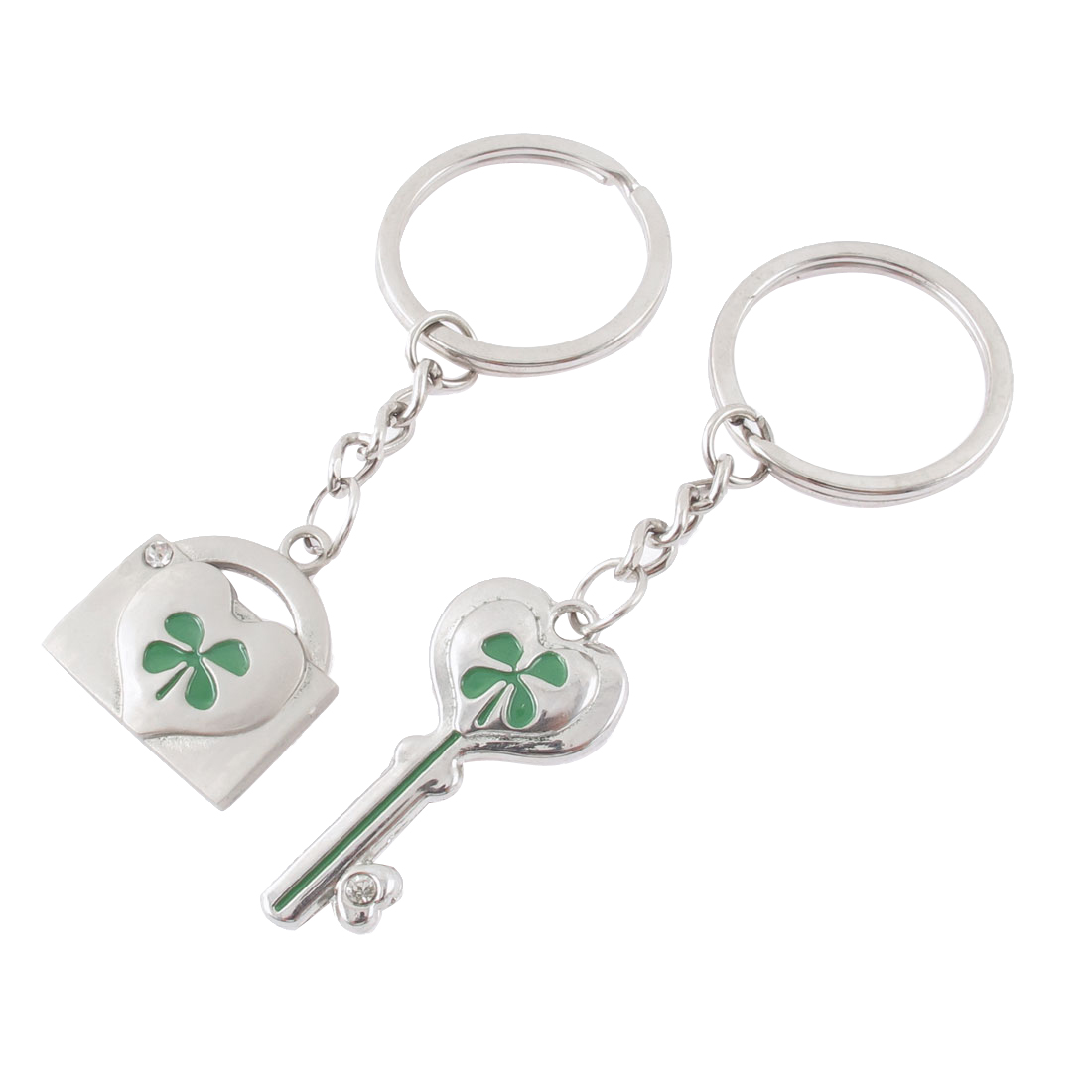 2 Pcs Four-leaf Clover Carved Key Lock Pendant Couple Keychain Keyring