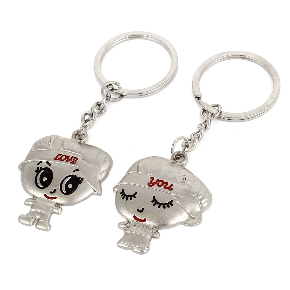 Pair Shape Pendant Couples Lover Keyrings Keychains Silver Tone