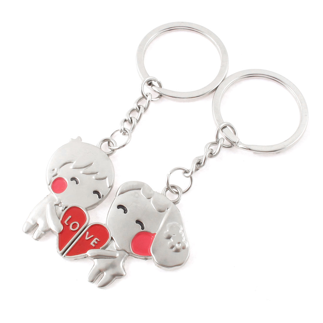 2 Pcs Cartoon Design Dangling Pendant Decoration Key Fob Keyring Silver Tone
