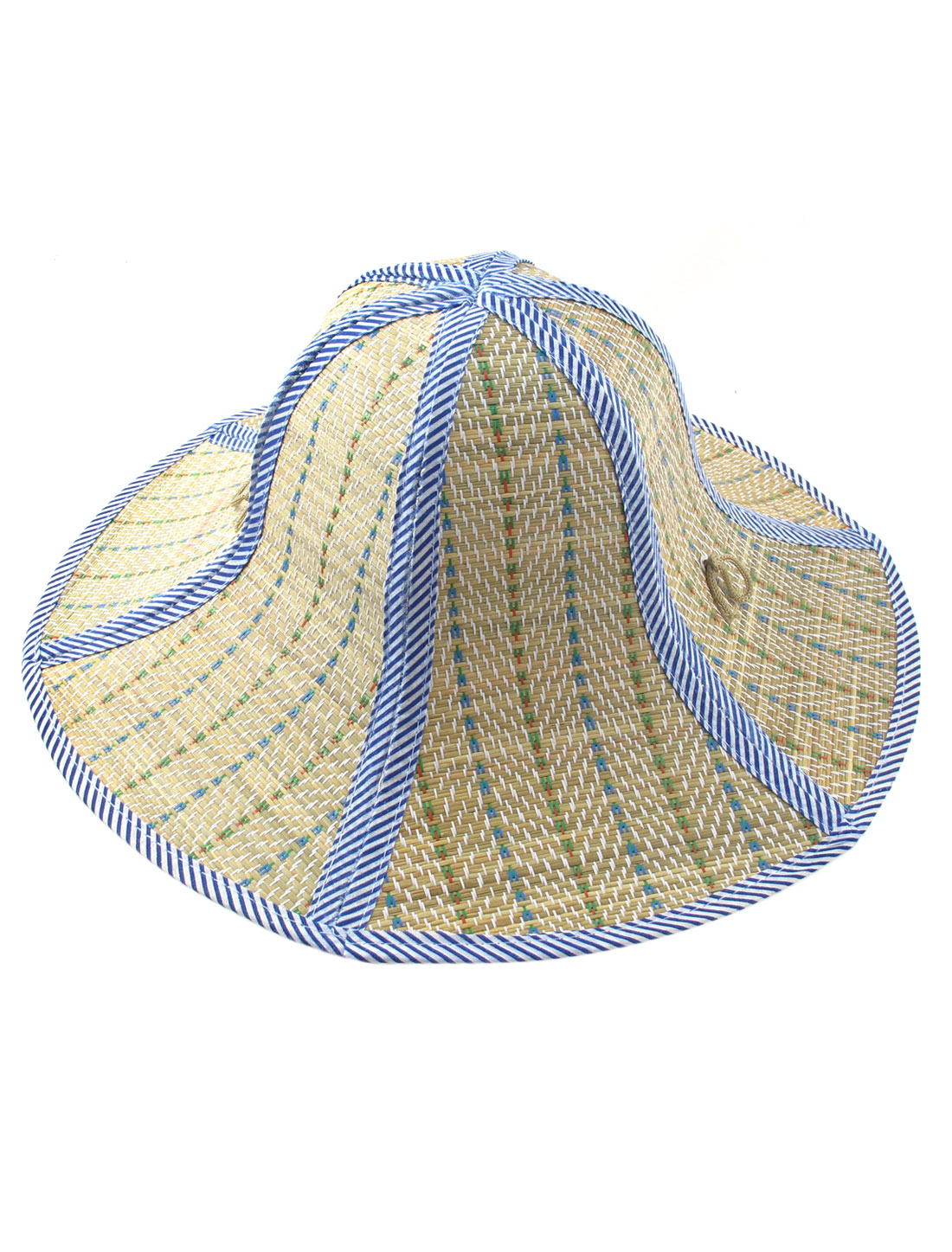 Unisex Foldable Chin Strap Summer Beach Boater Straw Hat Cap Brown Blue