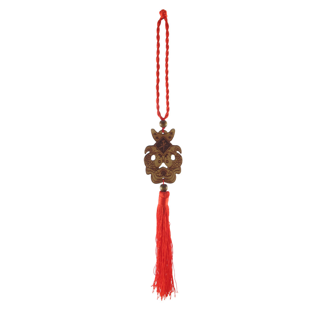 Peach Wood Fish Carved Tassel Detail Auto Car Hanging Decoration Red Brown