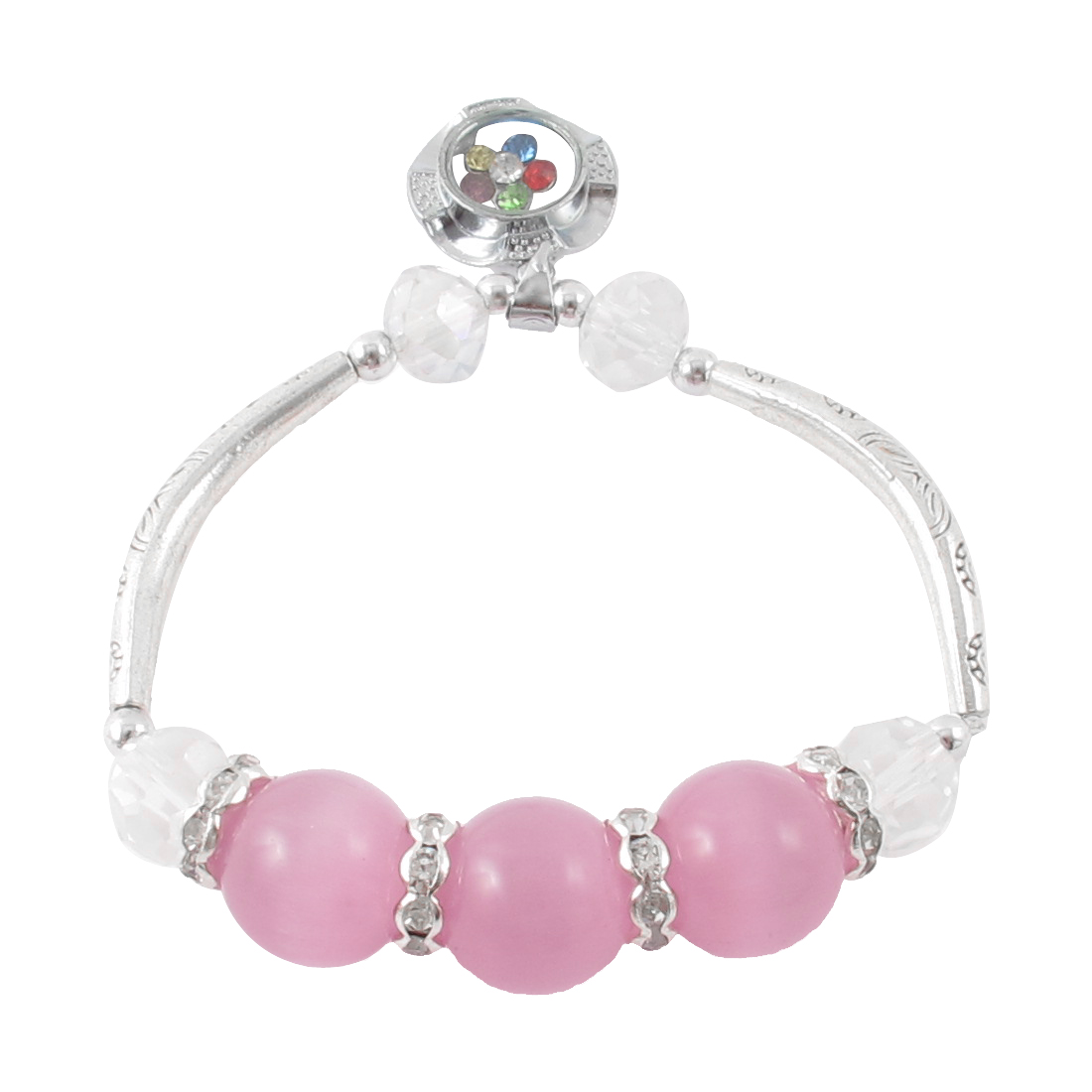 Lady Faux Cat Eyes Stone Detail Stretchy Beading Wrist Bracelet Pink