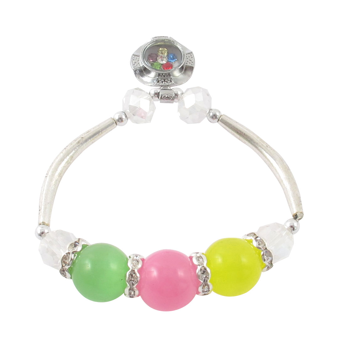 Lady Faux Cat Eyes Stone Detail Stretchy Beading Wrist Bracelet Yellow Green Pink